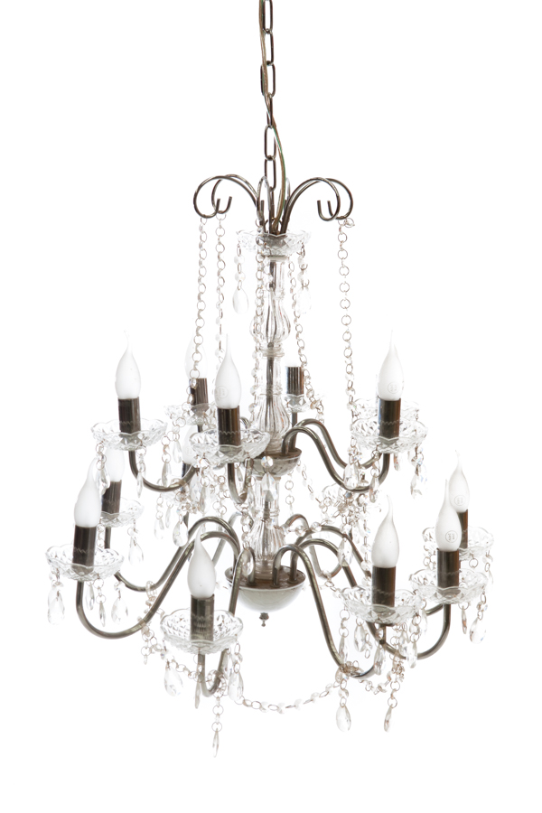 Chandelier w. 14 Globes – Chrome & Crystal