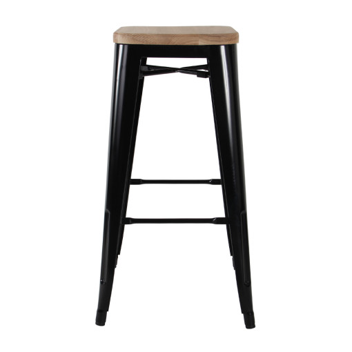 Tolix Bar Stool – Black w Timber Seat