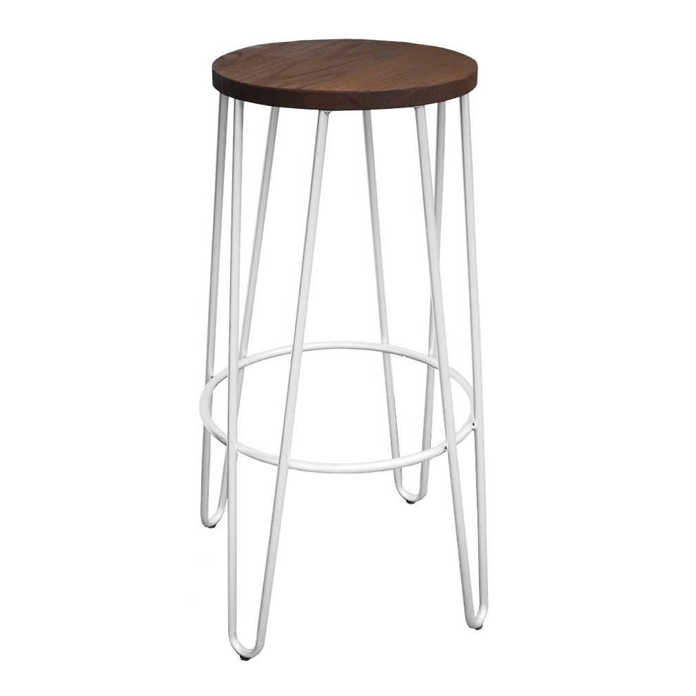 Hairpin Bar Stool, White with Timber Top