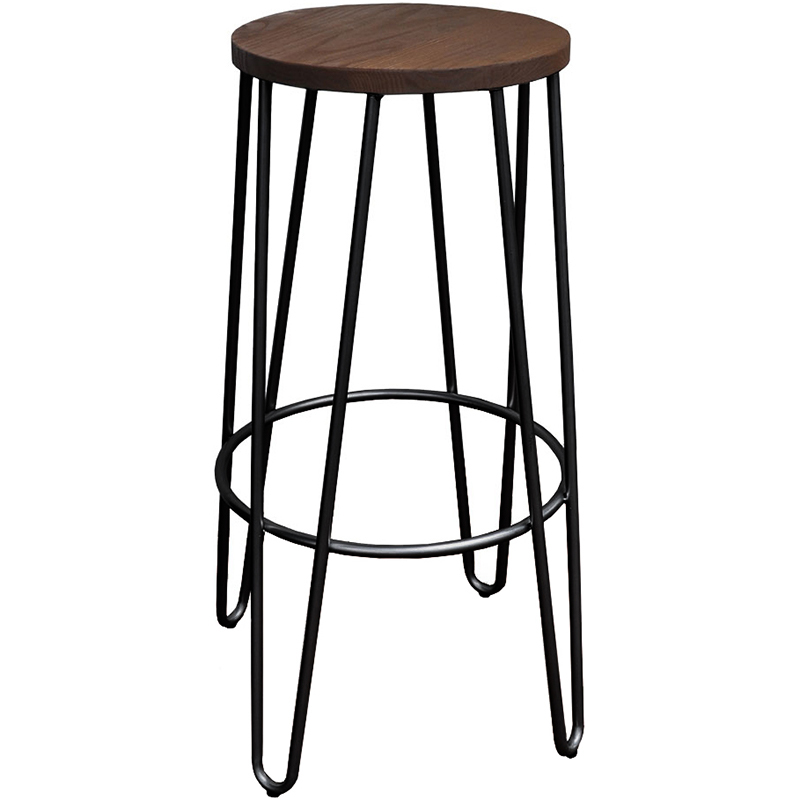 Hairpin Bar Stool, Black with Timber Top