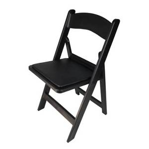 Folding Chair w. Padded Seat – Black Resin
