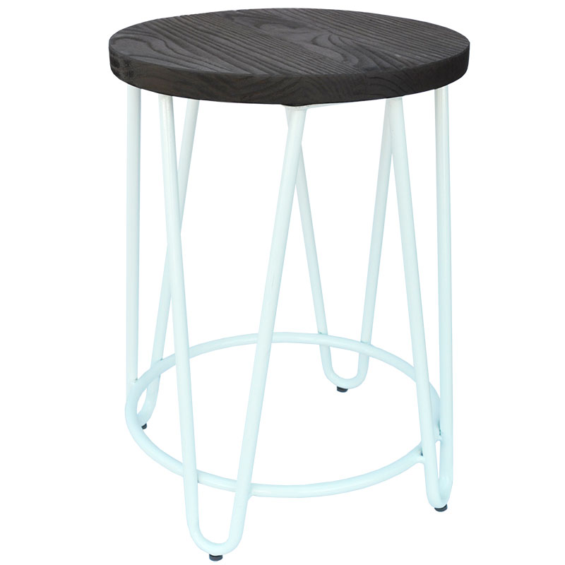 Low Stool, Hairpin, timber top, white leg