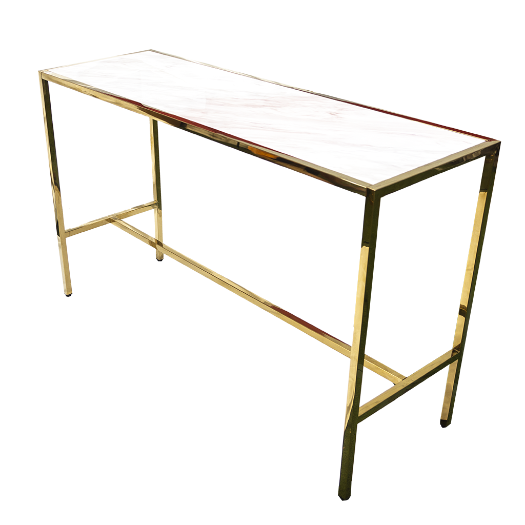 The Cocktail Table – Rectangle Gold with Marble Top