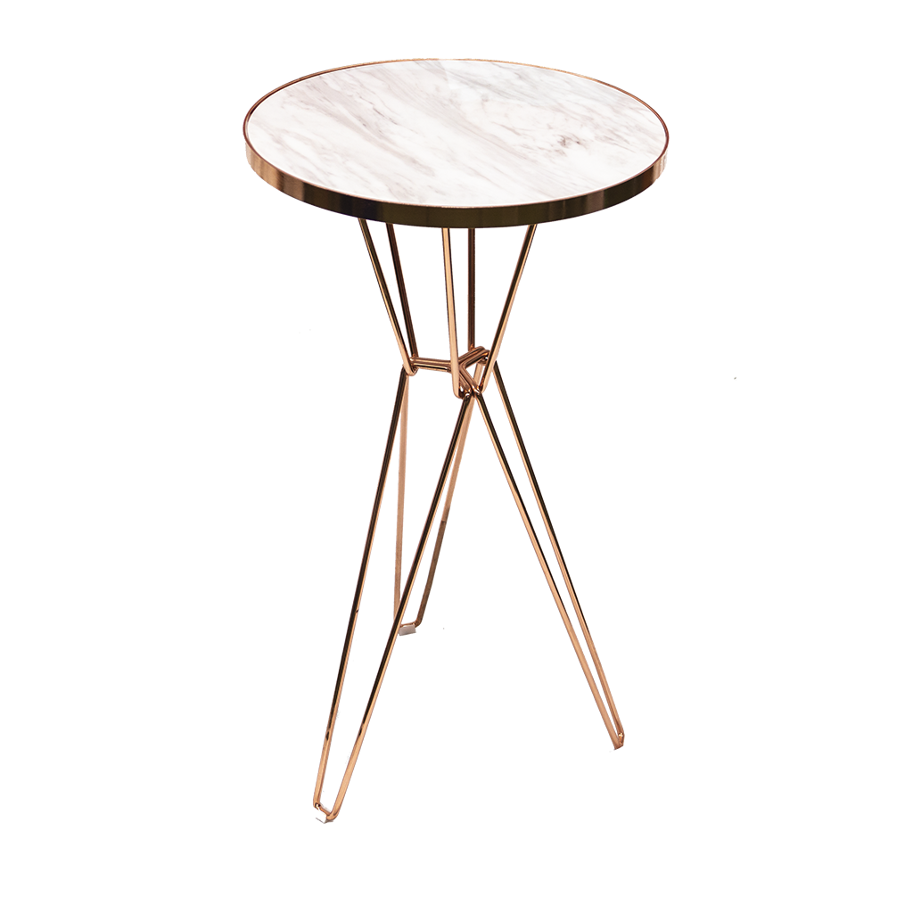 Cocktail Table – Round Rose Gold with Marble Top