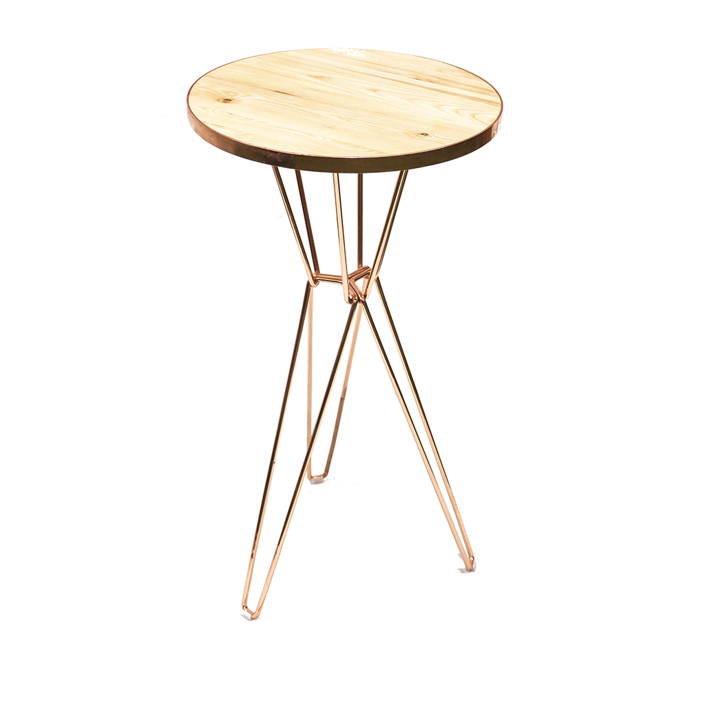 Cocktail Table – Round, Rose Gold with Timber Top