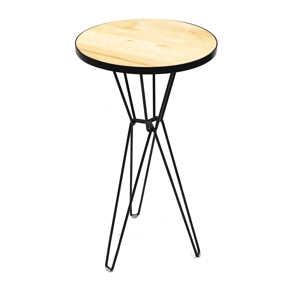 Cocktail Table – Round, Black Hairpin Legs with Timber Top