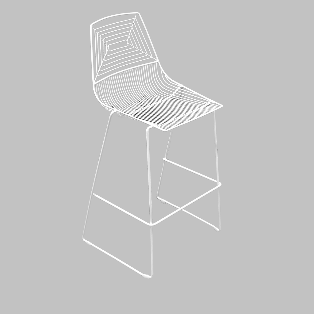 Wire bar stool – white