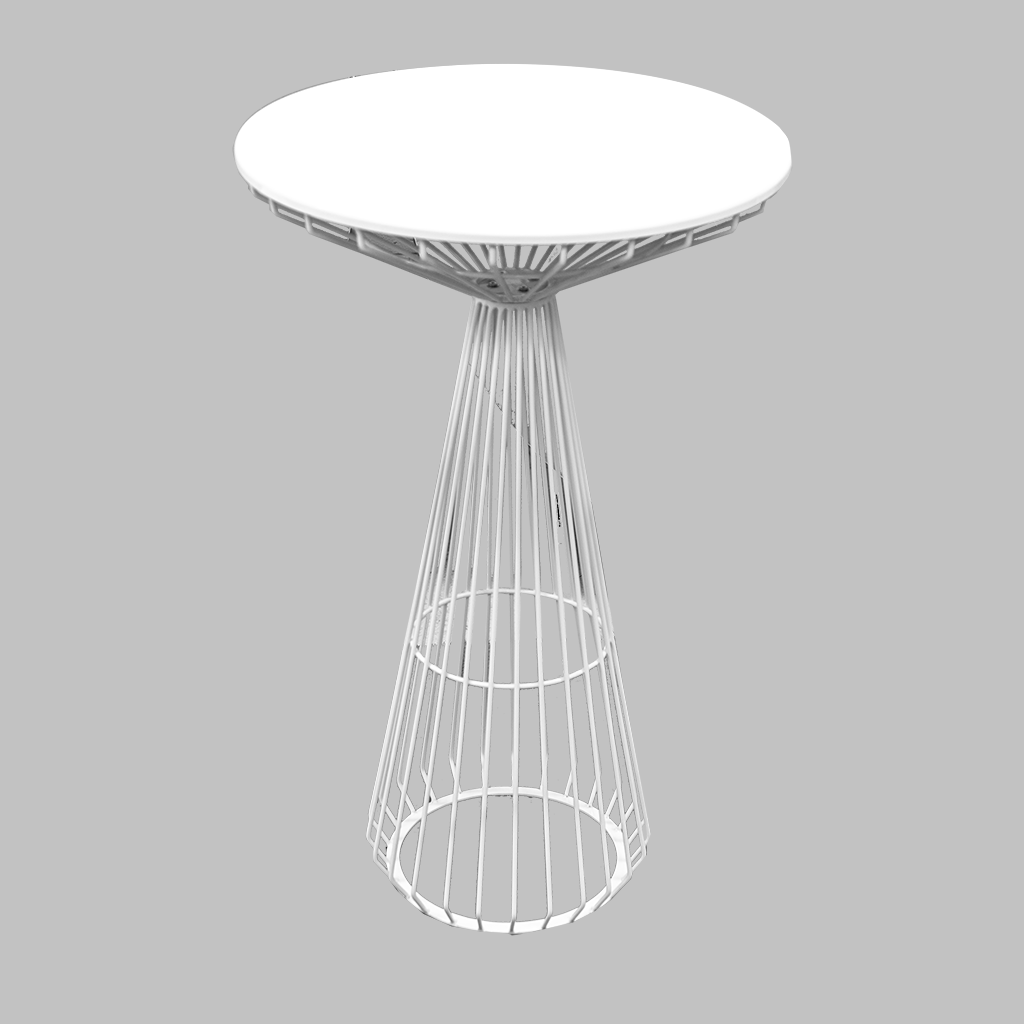 Cocktail Table – White Wire Round