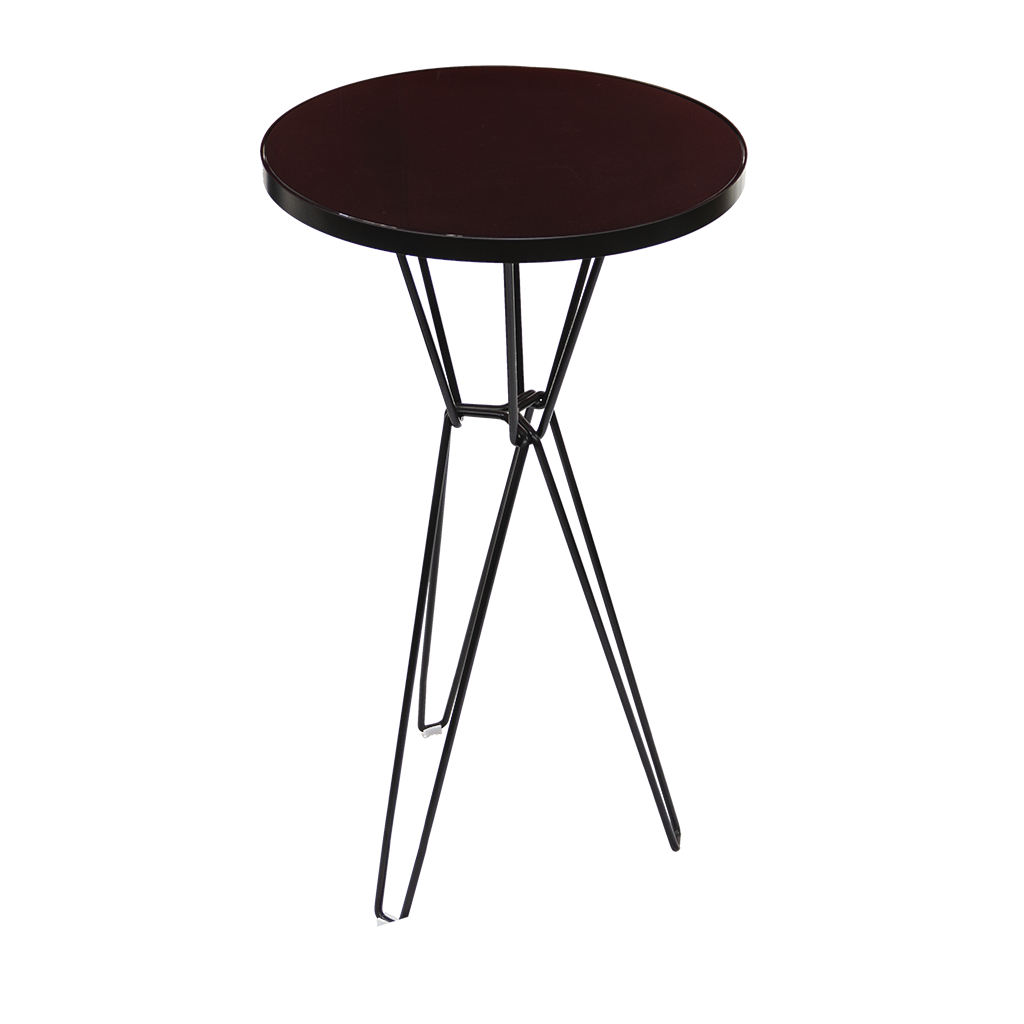 Cocktail Table – Round with Black Hairpin Legs and Black Gloss Top