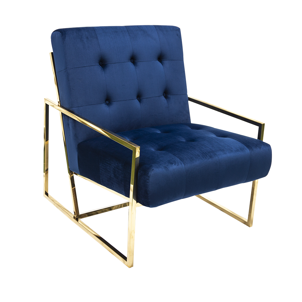 Arm Chair – Gold Frame, Blue Velvet