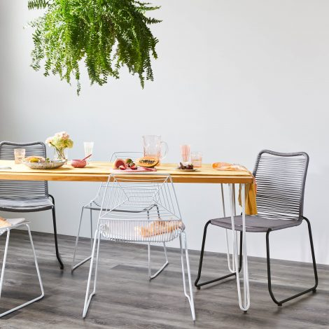 Dining Table – Timber Top – Hairpin Legs (White) –  L 2.0m x W 0.9m