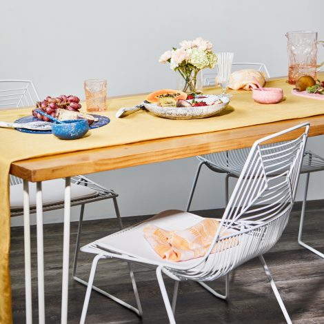 Dining Table – Timber Top – Hairpin Legs (White) –  L 2.1m x W 0.9m