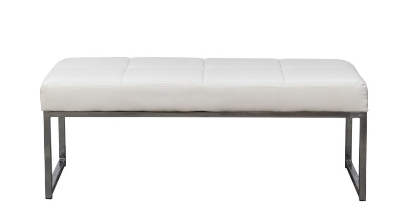 Ottoman – White Rectangle – with chrome legs